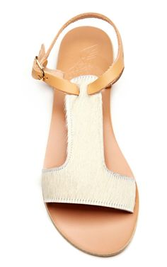 Leather and Calf-Hair T-Strap Sandals by Ancient Greek Sandals Now Available on Moda Operandi ♡