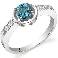 Sleek and Classy 0.50 carats London Blue Topaz Ring in Sterling Silver Rhodium Nickel Finish Size 5 Peora