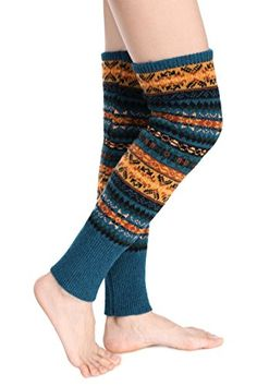 54ef3baa56411 Etouji Women Knee High Socks Winter Bohemian Boot Cuffs Knit Crochet Leg  Warmers Khaki **