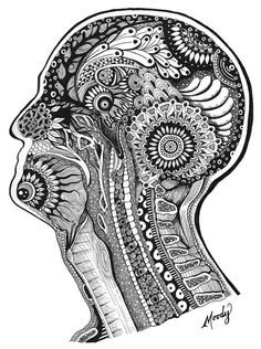 In My Mind's Eye - illustration / zentangle - Micron pens on Bristol - by Monica Moody