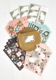 Botani-call or Write Stationery Set - Blue, Pink, Tan / Cream, Floral, White, Spring, Wedding, Top Rated