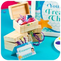 Treasure chest favors from a Sweet Little Mermaid Birthday Party on Kara's Party Ideas | KarasPartyIdeas.com (18)
