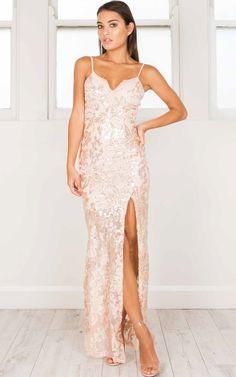 Spellbinding Maxi Dress in rose gold   Showpo