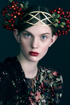 Russian style, Anna Bakhareva`s styling love the berry head crown and dark floral fabric,maybe russian folk style