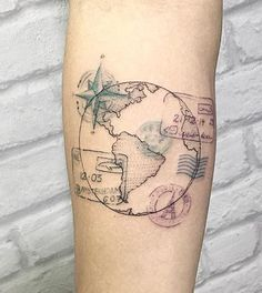 Travel tattoo adventure passport stamps ideas for 2019 - adventu . - Travel tattoo adventure passport stamps ideas for 2019 – adventure travel / tattoos – - Foot Tattoos, Forearm Tattoos, Body Art Tattoos, Tatoos, Tattoo Thigh, Karten Tattoos, Neue Tattoos, Geniale Tattoos, Passport Stamps