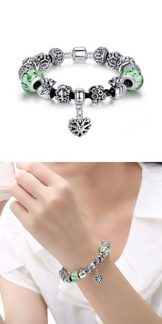 Bracelets Under 100 Green Murano Gl Beads Heart Leather Strap Bracelet Silver Plated 1