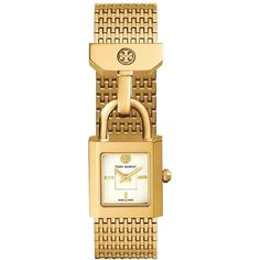 Women's Tory Burch 'surrey' Mesh Strap Watch, 21Mm (5.200.175 IDR) ❤ liked on Polyvore featuring jewelry, watches, gold, gold jewellery, tory burch jewelry, tory burch watches, tory burch and yellow gold watches