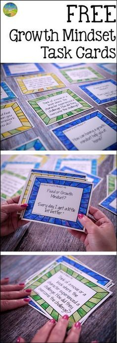 FREE Growth Mindset Task Cards! Help kids re-train their brains to be positive thinkers and use a growth mindset to help propel their success.
