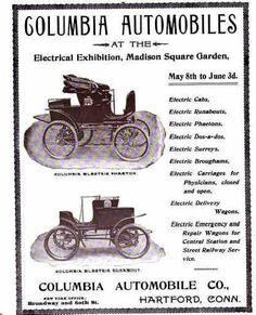 1899 Advertisement still using the Columbia Automobile Company's Name