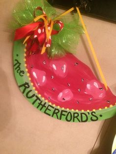 Watermelon door hanger perfect for summer time! Wooden Door Hangers, Wooden Doors, Personalized Signs, Summer Time, Watermelon, Christmas Bulbs, Holiday Decor, Birthday, Projects