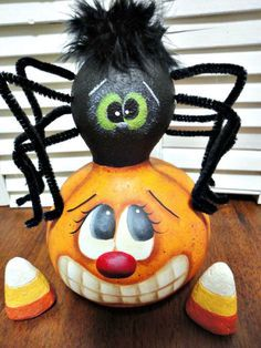 Hand Painted Halloween Spider Pumpkin Gourd