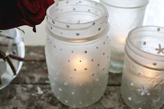 Frosted Mason Jar Votives - super easy, just need elemers glue and a sponge