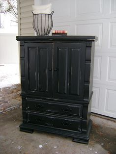 Black Distressed Dresser Armoire — Vintage Farm Furniture