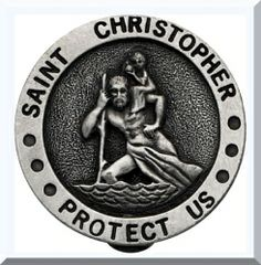Car Visor Clip St Christopher Solid Pewter with Antiqued Brass Finish