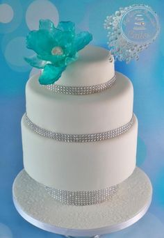 Isomalt+Flower+Wedding+Cake+-+Cake+by+Beata+Khoo