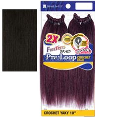 """Freetress Pre-Loop Crochet Yaky 10"""" - Color 2 - Synthetic Braiding"""