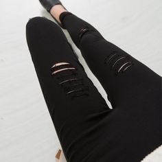 b08c2a9eab5f24 2016 Cotton High Elastic Imitate Jeans Woman Knee Skinny Pencil Pants Slim  Ripped Jeans For Women Black Ripped Jeans XXXL