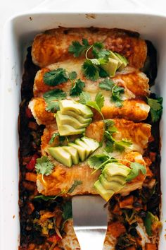 Easy Veggie Enchiladas! Saucy, cheese, filling, cozy, and packed with any roasted veggies you want. Super versatile and easy to make! #enchiladas #vegetarian #meatless | pinchofyum.com