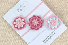 Pink Baby Headband or Hair Clip Set of 3 Baby by LullabyBlossoms