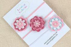 Cinta bebé rosa o pelo Clip conjunto de 3 Bebé por LullabyBlossoms