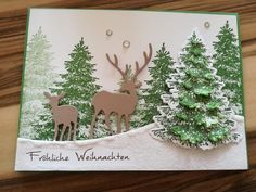 Weihnachtskarte selber basteln mit den Stempelsets Winterwald aus dem Saisonkata… Make your own Christmas card with the stamp sets Winterwald from the Season Catalog 2018 by Stampin Up! Stampin Up Christmas 2018, Christmas Cards 2018, Homemade Christmas Cards, Noel Christmas, Xmas Cards, Homemade Cards, Handmade Christmas, Holiday Cards, Christmas Crafts