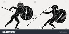 Two ancient Greek warrior Hector and Achilles with a spear and shield in his hands isolated on a grey background. Seamless Background, Gray Background, Ancient Romans, Ancient Greek, Greek Drawing, Greece Mythology, Boat Vector, Hound Breeds, Roman Warriors