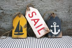 FREE SHIP Nautical Sailing Wood Door Centerpeice Sailboat anchor Tags Rustic by TheUnpolishedBarn