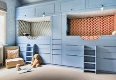 We had fun creating this bespoke bunk bed unit for our client's twin son & daughter. The entire room is covered in including the ceiling of the room and inside the bunks, filling the whole space around them with little gold stars. Mdf Shelving, Solid Oak Bookcase, Bedroom Built In Wardrobe, Bed Unit, Bunk Beds Built In, Mdf Doors, Cupboard Drawers, Cupboards, Study Nook