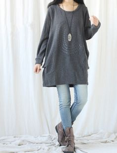 Cotton dress/ Plus velvet long Tshirts by MaLieb on Etsy, $89.00