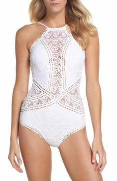 215ff530a814c Becca Crochet One-Piece Swimsuit Mexico Dress