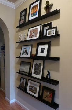 Floating shelf styling...so excited to have a place to display photos!!