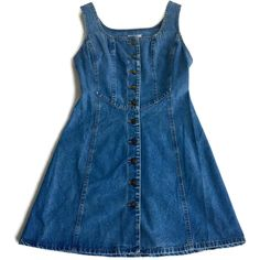 90's Jean Dress Denim Dress Fitted Mini Size Small ($42) ❤ liked on Polyvore featuring dresses, button front dress, sleeveless dress, blue fitted dress, grunge dress and sleeveless fitted dress
