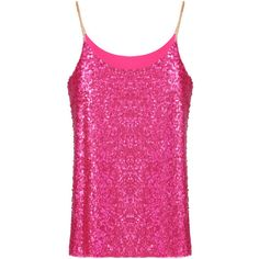 Spaghetti Strap Sequined Tank Top ($10) ❤ liked on Polyvore