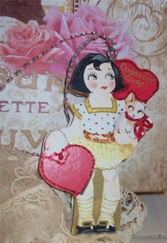 NEW 2-Sided Wood Vintage Valentine ORNAMENT LITTLE GIRL WITH PUPPY