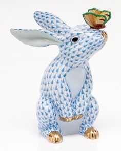 """Handcrafted bunny sculpture. Porcelain. Hand painted. 4.5""""W x 4.25""""D x 6.5""""T…"""