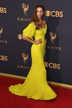 Red carpet style: Best and worst dressed lists at the 2017 Emmy Awards | Angela Sarafyan in yellow off-the-shoulder puff sleeve gown | The Luxe Lookbook