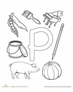 letters of the alphabet - Letter P Coloring Sheet