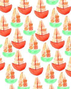 Watercolor Boats.