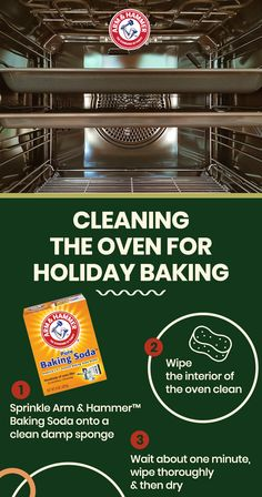 Clean your oven for holiday baking with Arm & Hammer™ Baking Soda. Sprinkle Arm & Hammer™ Baking Soda onto a clean damp sponge and wipe the interior of the oven clean. Wait about one minute, wipe thoroughly and Homemade Cleaning Products, Cleaning Recipes, Natural Cleaning Products, Cleaning Hacks, Cleaning Supplies, Baking Supplies, Baking Soda Cleaning, Household Cleaning Tips, Oven Cleaning