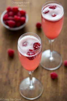 Champagne Punch Bellini: champagne, raspberry sorbet, fresh raspberries for garnish