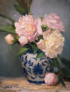 Peonies in Blue and White -- Justin Clements