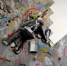 -- Martin Whatson... Bansky/Blek le Rat Inspired .... Kinda funny.... What society appreciates .... Stencil Graffiti (Modern) over tagging/bombing/Graffiti... Artist go to war over a thing like this... Disrespectful! I love it!!! Lol