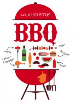 Leuke uitnodiging voor een barbecue. Met een grote rode barbecue op de voorkant met allerlei lekkere dingen die op de barbecue horen. Op de achterkant een leuk rood kleedje en ruimte om je eigen tekst te plaatsen.