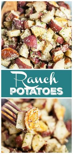 These Ranch Roasted Red Potatoes make the best easy and healthy side dish recipe! The potatoes are tossed in olive oil and baked in the oven until crispy. They're tossed in a homemade ranch seasoning that's better than Hidden Valley. This dish is vegetarian and gluten free. It's perfect to serve alongside chicken, beef, pork, or any vegetables such as asparagus or green beans. There is nothing better than DIY ranch seasoning. These potatoes are full of flavor!