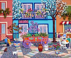 The Flower Wagon by Laura Vidra - GINA Gallery of International Naive Art