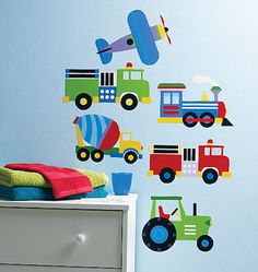 Olive Kids Trains Planes and Trucks Peel and Stick - Wall Sticker Outlet