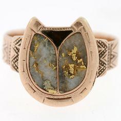 Victorian 14kt & Goldstone Horseshoe Ring. wantwantwant!