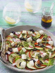 Carpaccio de courgettes, tomates et feta