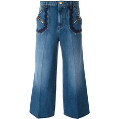 Sonia Rykiel Wide-legged Cropped Jeans ($489) ❤ liked on Polyvore featuring jeans, wide leg jeans, blue jeans, sonia rykiel jeans, cropped jeans and wide leg blue jeans