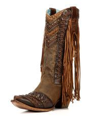 Women's Goat Snip Toe Boot with Studs and Fringe - C2986, Honey